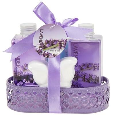 Lavender Bath and Body Gift Basket- Body Lotion,Bubble Bath,Shower Gel,Bath Fizzer