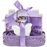 Floral Delight Bathroom Gift Set for Women: Aromatherapy Essential Lavender Set of Body Lotion, Bubble Bath, Shower Gel, and Bath Bomb, Gift For Her