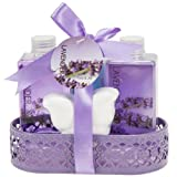 Lavender Bath and Body Bathroom Gift Basket for Women: Aromatherapy Essential Lavender Bath Set of Body Lotion ~ Bubble Bath ~ Shower Gel ~ and Bath Bomb, Gift For Her
