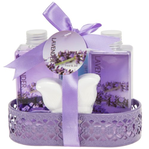 Lavender Bath and Body Gift Basket- Body Lotion,Bubble Bath,Shower Gel,Bath Fizzer (Lotion Gift Lavender Set)