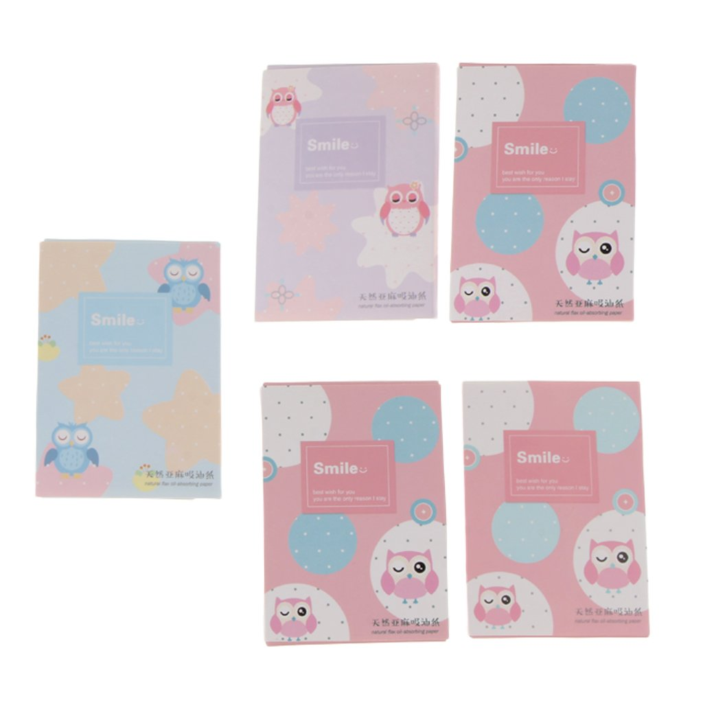 Baoblaze 250 Sheets in 5 Pack, Oil Absorbing Tissues, Premium Face Oil Blotting Paper, Beauty Oil Control Face Facial Make Up - 6#, as described