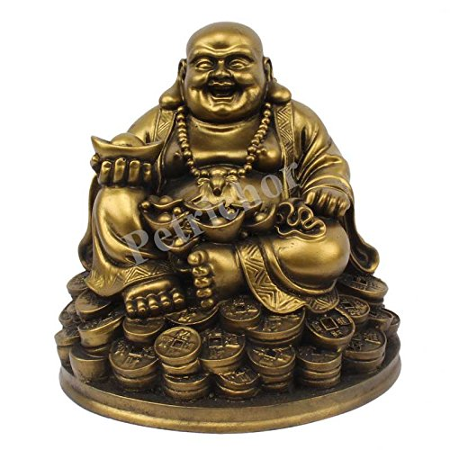 (Petrichor Fengshui Laughing Buddha Sitting on Lucky Money Coins Carrying Golden Ingot for Good Luck & Happiness (5)