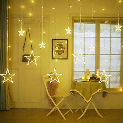 Bolylight Curtain String Lights 12 Stars 138 LED 4 x 8.2ft with 8 Flashing Modes for Wedding Home Party Garden Bedroom Outdoor Indoor Wall Decorations (Warm White)