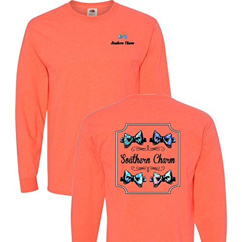 Southern Charm Preppy Bow Tie on a Coral Heather Long Sleeve T Shirt - -