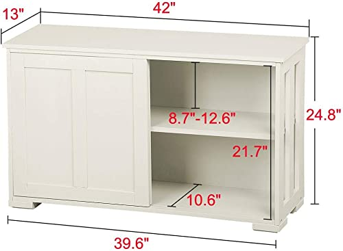 Yaheetech Antique White Sliding Door Buffet Sideboard Stackable Cabinet