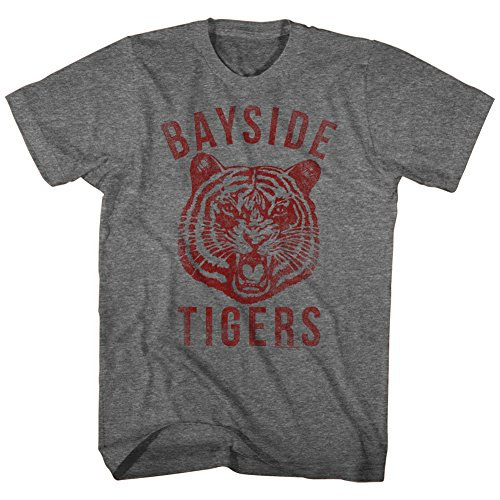 American Classics Unisex-Adults Saved by The Bell Bayside Tigers Short Sleeve T-Shirt, Graphite Heather, (Bayside Classic T-shirt)