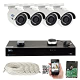 Cheap GW 8 Channel PoE NVR Ultra-HD 4K (3840×2160) Security Camera System with 4 x 4K (8MP) 2160p IP Camera, 100ft Night Vision, Outdoor Indoor Surveillance Camera