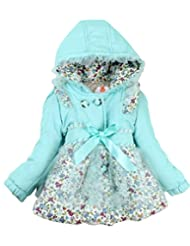 Baby Girl Floral Bowknot Thickened Warm Jacket Outwears Winter Coat Clothes