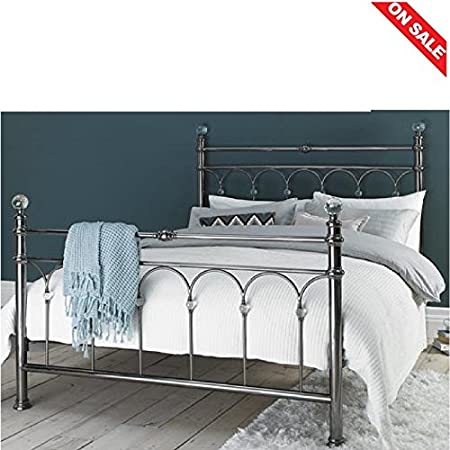 low priced 3722e aed41 Brushed Nickel Bed Frame Double Large Low Base Matress Beech ...