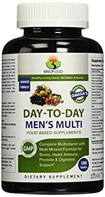 Briofood Food Based Multivitamin with Vegetable Source Omega Day-to-day Men's Multi Tablets, 180 Count