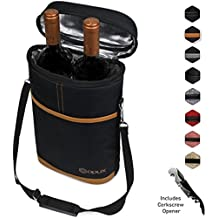 Premium Insulated 2 Bottle Wine Bag by OPUX | Elegant Wine Carrying Tote for Travel with Shoulder Strap, Extra Padded Protection, Convenient, Durable Wine Bottle Carrier | Corkscrew Included (Brown)