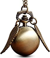 GORBEN Ball Wings Snitch Quartz Pendant Pocket Watch Necklace Chain for Men + Bag