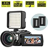 Camcorder, AiTechny 48MP 4K Camcorder WiFi Digital Video Camera, 1080P 60FPS Camera Camcorder, 3.0 Touch Screen IR Night Vision Camcorder With LED Video Light Lamp (4K Camera+Lens+LED)