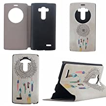 LG G4 Case,LG G4 Quick Circle Case,GOODTONY [Magnetic Closure][Kickstand] Smart Window View Flip Cover Back Folio Wake up/Sleep Function case for LG G4 (Dream Catcher Pattern)