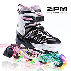2pm Sports Cytia Pink Girls Adjustable Illuminating Inline Skates with Light up Wheels, Fun Flashing Rollerblades for Kids, Beginner Roller Skates for Ladies - Medium (US 2-5)