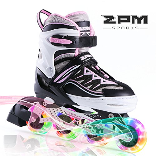 2PM SPORTS Cytia Pink Girls Adjustable Illuminating Inline Skates with Light up Wheels, Fun Flashing Beginner Roller Skates for Kids - Medium(US -
