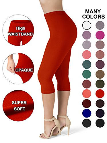 SATINA High Waisted Ultra Soft Capris Leggings - 20 Colors - Reg & Plus Size (One Size, Red) ()