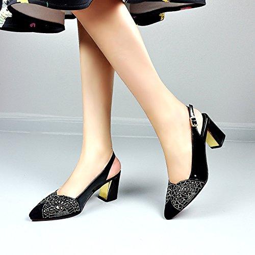 SSBY Dichotomanthes Fondo 6.5Cm Bolsa Tacones Sandalias De Verano Nuevo Diamante Hueco Con Gruesos Zapatos De Cuero black