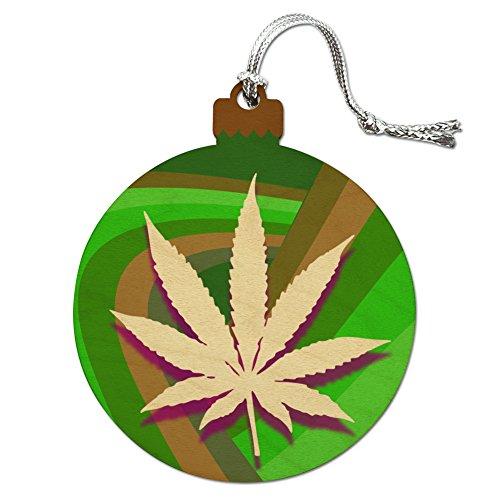 Marijuana Leaf Pot Weed Psychedelic Wood Christmas Tree Holiday Ornament