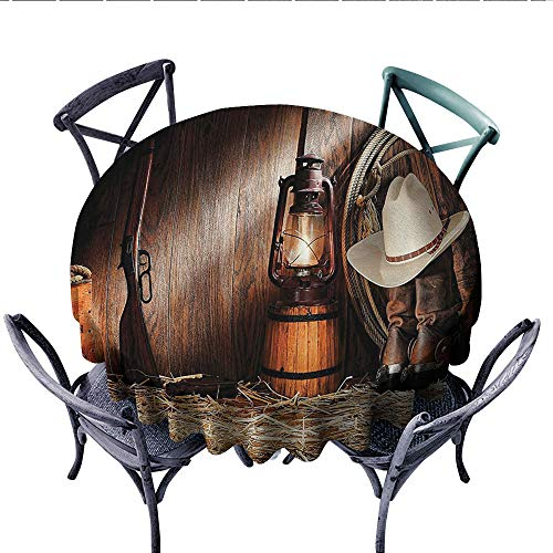 (Western Decor Collection Printed Circle Tablecloth Authentic Gear Straw Hat ATOP Genuine Leather Boots and Kerosene Oil Lantern Lamp Stain Resistant Wrinkle Tablecloth (Round, 50 Inch, Dark Brown))