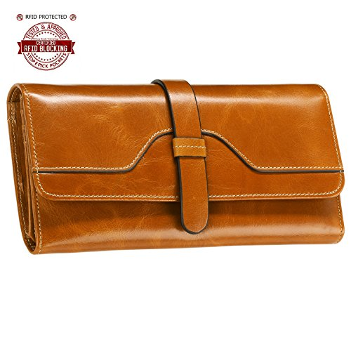 Itslife Women's RFID Blocking Luxury Leather Trifold Wallet Ladies Clutch Travel Purse(Camel)