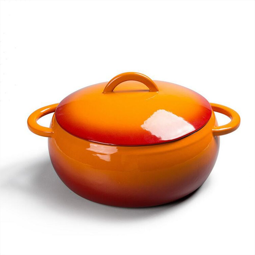 Amazon.com: Cast Iron Round Casserole Induction Cooker Soup Cooking Tool Thick Cast Iron Saucepans Enamel Pot 23cm (Color : 2): Kitchen & Dining