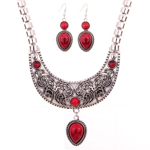 YAZILIND Vintage Moon Carve Flower Pattern Red Waterdrop Pendant Bib Statement Necklace Earrings Set Wedding Party for Women 18