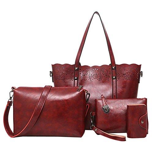 Set Card Women Handbag Shoulder Leather Red 4pcs Concise Domybest Bag Bag PU Clutch Wine WxFfwn01