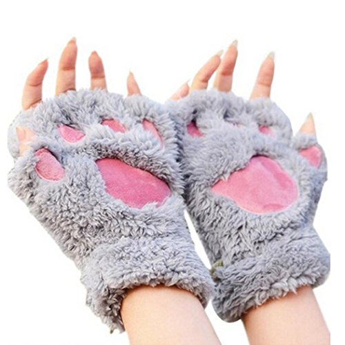[Arshiner Women Bear Plush Cat Paw Claw Glove Soft Winter Gloves (Grey-1)] (Cat Ears And Tail Set)