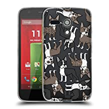 Head Case Designs Boston Terrier Dog Breed Patterns 6 Soft Gel Case for Motorola Moto G (1st Gen)