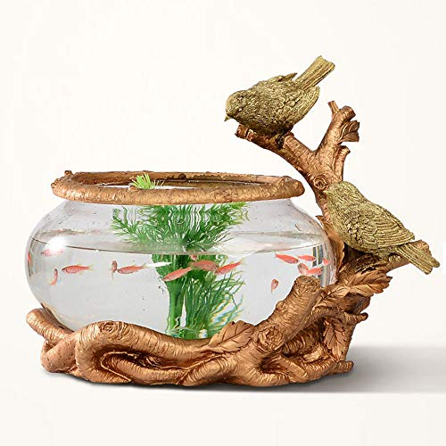 PEHOST PH1001 Glass Fish Bowl Tabletop Aquarium or Plant Terrarium, Home Tabletop Decor Vase Whith Golden Tree Rattan and Bird - Accents Glass Inlaid