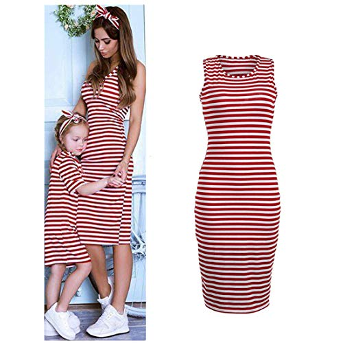 Family Matching Dress Mommy&Daughter Clothes Women Girls Short Sleeve Striped Baby Dress Sleeveless Kids Dress ()