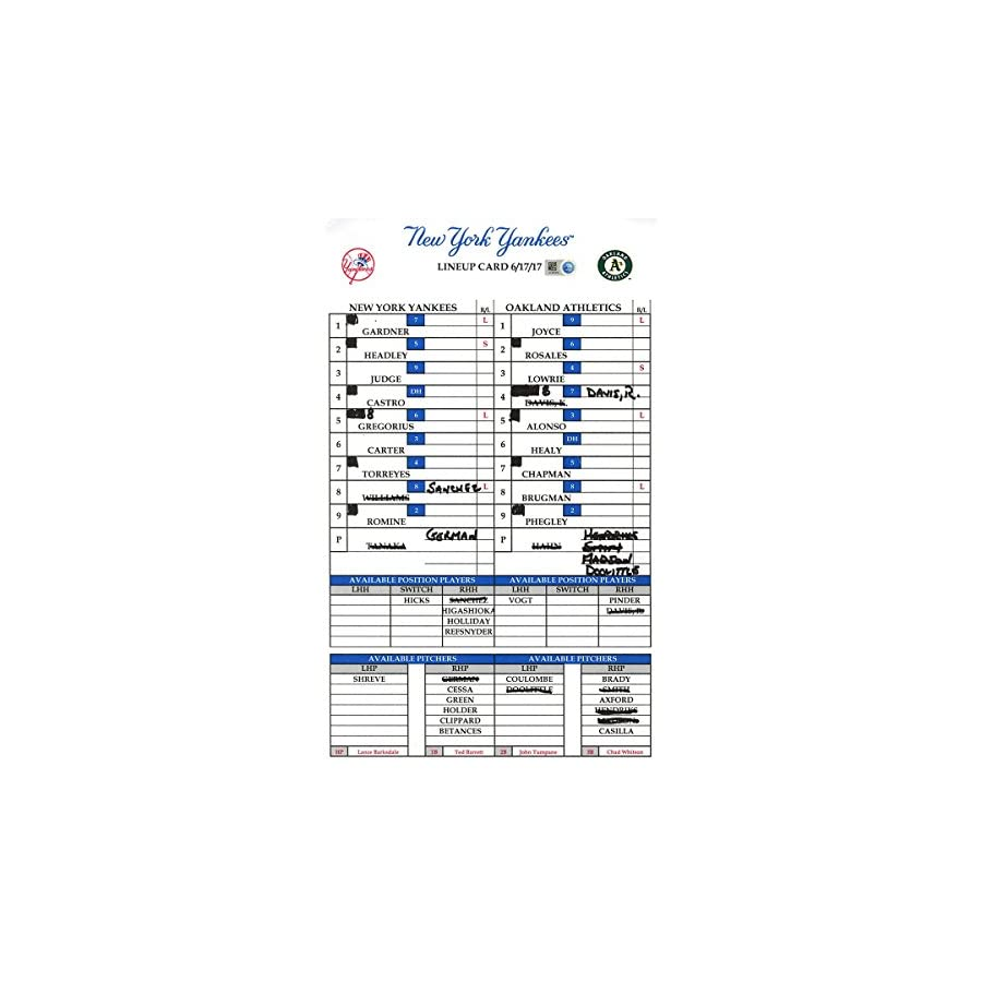 Yankees at Oakland 6 17 2017 Game Used Lineup Card (JC081010)