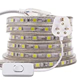 XUNATA 2m 5050 LED Strip White with Switch (80cm Cable), Mains Powered SMD 60LEDs/m Commercial Rope Light, IP67 Waterproof for Indoor/Outside Decoration UK Plug Suppl