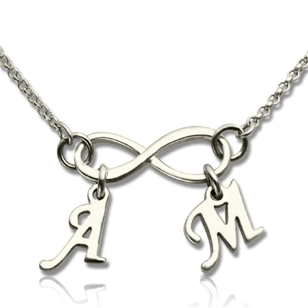 Shiny Alice Initial Infinity Necklace Personalized Infinity Necklace Silver Infinity Necklace with Initial Mothers Grandma Family Necklace