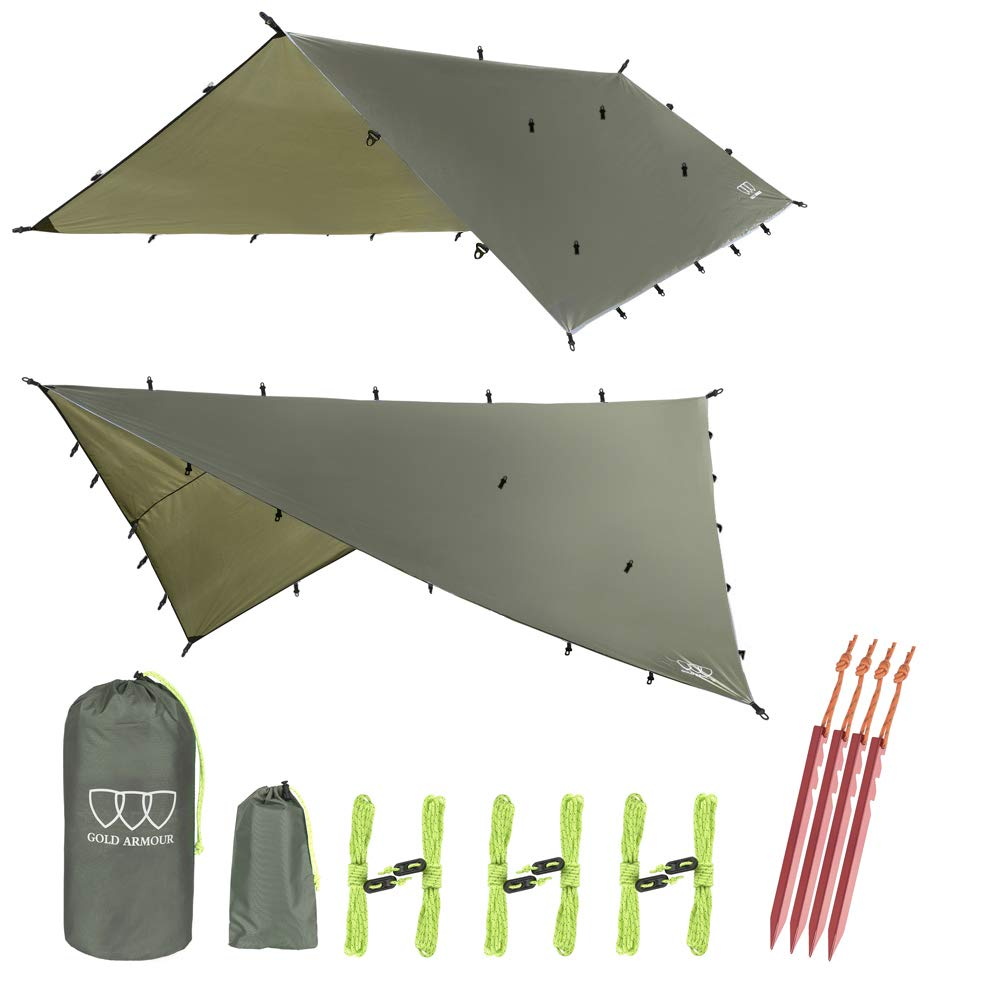 Gold Armour 12ft Extra Large Tarp Hammock Waterproof Rain Fly Tarp 185in Centerline - Lightweight Ripstop Fabric - Stakes Included - Survival Gear Backpacking Camping Accessories (OD Green) by Gold Armour