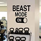 Beast Mode Motivational Gym Wall Art Decal Quote - 22'' x 22'' Decoration Vinyl Sticker-Black