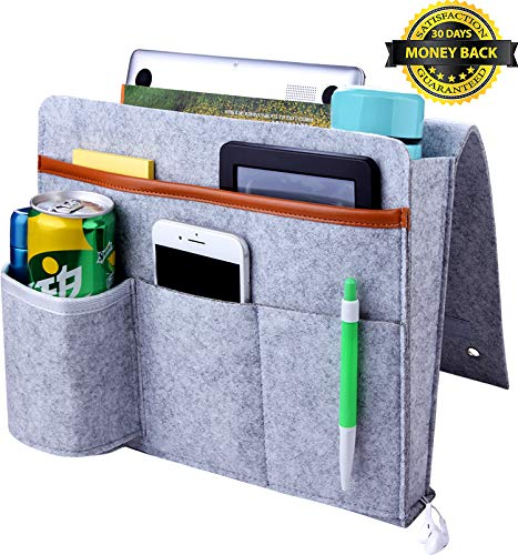 YOMFUN Bedside Caddy Organizer, Upgraded Bedside Storage Organizer, Large Sofa Bed Caddy with Cup Holder, Felt Hanging Organizer for Remote/Magazine/Tablet/13 Laptop (Light Gray)