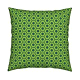 Roostery Nut Organic Sateen Throw Pillow Cuteness Hardware Green by Jenimp Cover and Insert Included