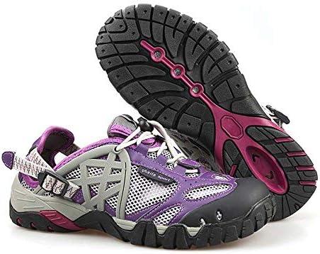 紫色の夏の屋外メッシュ上流の靴ハイキングウォーキングシューズ ゴム製の詰め物の靴でフロントを助けるために水陸両用速乾性釣り靴女性と男性を適用します。 ポータブル (色 : Purple, Size : US11)