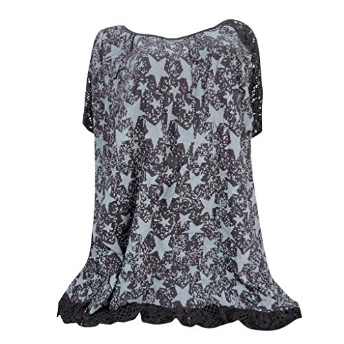 TnaIolral Plus Size Women Top O-Neck Print Patchwork Hollow Out Short Sleeve Summer Shirt (XXXL, Army Green)