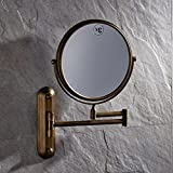 Wall Mount Adjustable Folder Round Make up Mirror Solid Brass Swivel Magnified Mirror Antique Brass Finish Double Sided Round Wall Mirror with Folding Arm