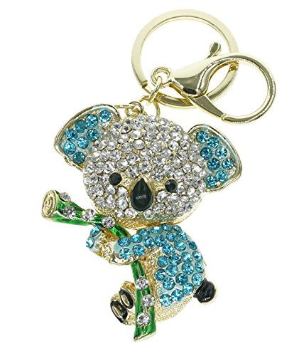 Cooplay Cute Lovely Koala Bear Animal Diamond Crystal Rhinestone Gold Crystal Keychain Charm Pendent Beautiful Accessories the Best Gift for Girl Women Purse Handbag Bag Keyrings (Blue) (Best Way To Insult A Girl)