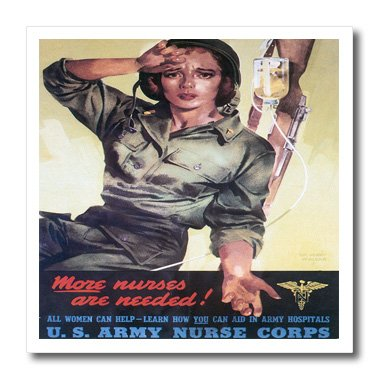 3dRose ht_149423_1 Vintage More Nurses are Needed Us Army Nurse Corps Recruiting Poster Iron on Heat Transfer, 8 by 8-Inch, for White Material ()