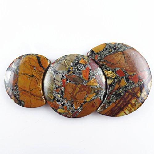 Jasper Necklace Pendant Beads (JCGJ Semi Precious Stones,1 Set Moon Natural Picasso Jasper Stone Pendant for Jewelry Making)