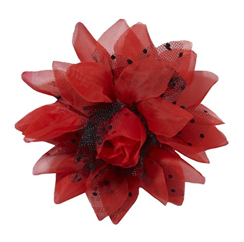 50'S Retro Rock Pin up Pinup Red Flower Hair Clip Hairpiece Costume Accessory -