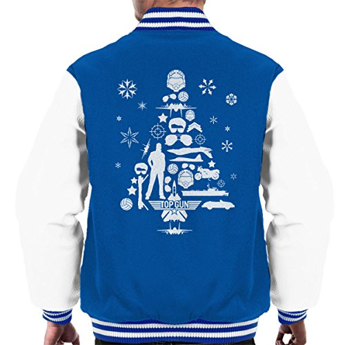 Royal Men's Top white Christmas Gun Tree Silhouette Jacket Varsity q0R0Iwnr