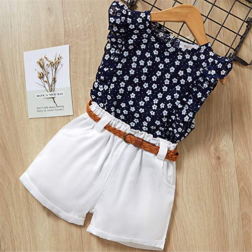 ZHIZHEN Girls 2019 Summer Children Cute Flower Sleeve Clothing Shorts Set 2 Pieces 6T Blue]()