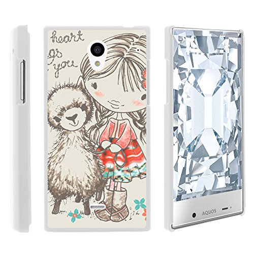 Sharp AQUOS Crystal Phone Case, Perfect Fit Cell Phone Case Hard Cover with Cute Design Patterns for Sharp AQUOS Crystal 306 SH (Sprint, Boost Mobile, Virgin Mobile) from MINITURTLE   Includes Clear Screen Protector and Stylus Pen - Baby Alpaca Girl