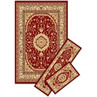 3 Pcs Set 5840 Burgundy Green Ivory Area Rugs